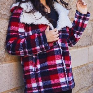 Steve Madden Red Plaid Sherpa Hooded Jacket Small